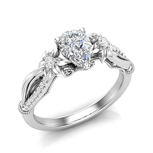 Amazon.com: Floral Engagement Ring Pear Shape Flower Ring