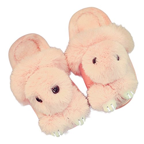 CYBLING Winter Warm Cute Rabbit House Slippers For Women Anti-slip Shoes Pink ThJmEs