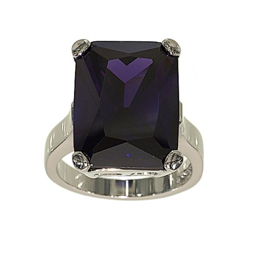 (Glamour Rings Very Large Amethyst Cubic Zirconia Single Stone Cocktail Ring with Silvertone Double Base Setting Size)