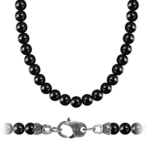 (WESTMIAJW Mens Black Natural Onyx Beads Necklace Chain 8mm Gemstones Jewelry 60cm)
