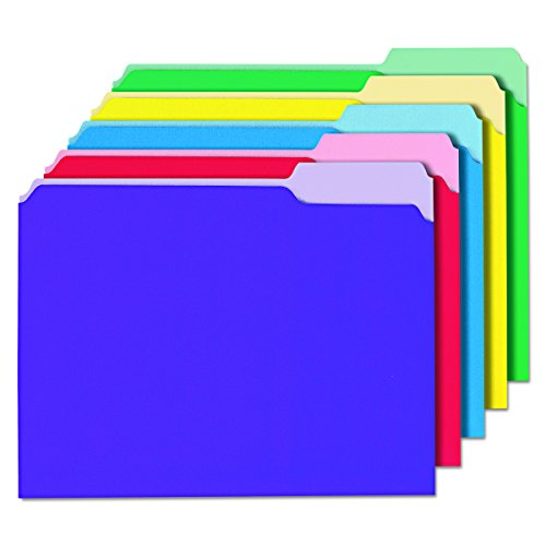 Universal 12306 Recycled Interior File Folders, 1/3 Cut Top Tab, Letter, Assorted, Box of 100