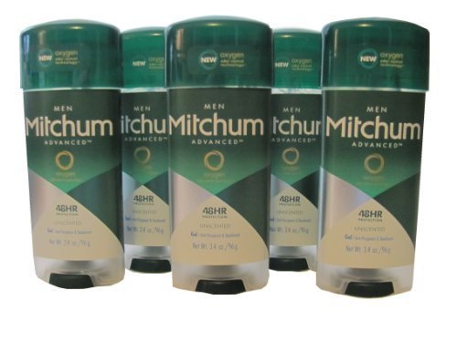 Mitchum Advanced for Men Antiperspirant Deodorant - Gel - New Oxygen Odor Control Technology - Unscented - Net Wt. 3.4 OZ (96 g) Each - Pack of 5 by Mitchum