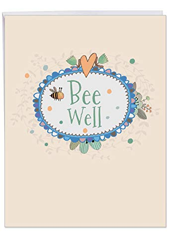 Bee Well' Big Get Well Soon Card with Envelope 8.5 x 11 Inch - Flowers and Heart, Floral Border Design Stationery Set for Personalized Message and Greeting for Quick Recovery - Design Mixed Borders