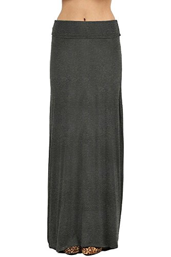NioBe Clothing Womens Solid Long Draped Maxi Skirt (Medium, ()