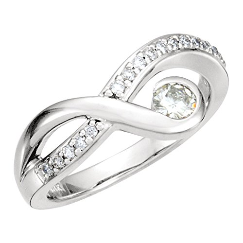 0.56 ct Ladies Round Cut Diamond Infinity Ring in 14 kt White Gold In Size 10 (Infinity Kt Ring 10 Gold)