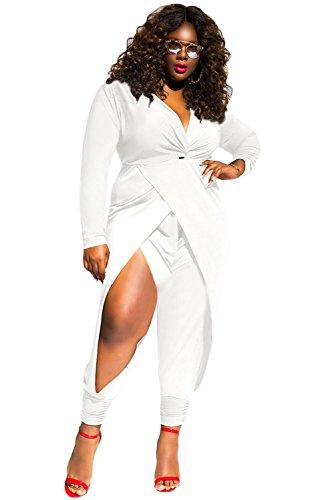 O&W Women White Twist Knot Slit Long Sleeve Plus Size Jumpsuit XXXL