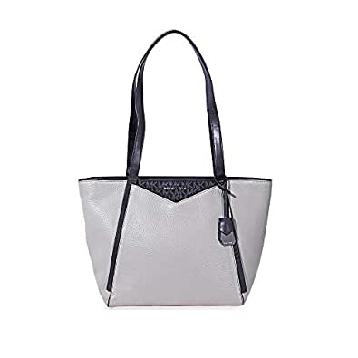 535892bb3b04 Michael Kors Pebbled Leather Tote- Grey/Black: Handbags: Amazon.com