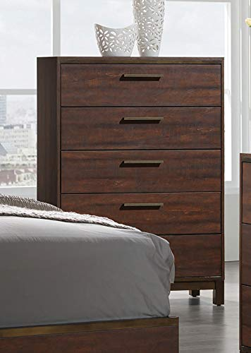 Coaster 204355-CO Edmonton 5 Drawer Chest, Rustic Tobacco/Dark Bronze