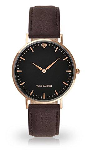 YVES CAMANI Amelie Women's Wrist Watch Quartz Analog Brown Leather Strap Black Dial YC1097-C-747