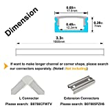 hunhun 20-Pack 3.3ft/1Meter U Shape LED Aluminum