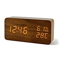 FiBisonic Alarm Clock with LED Digital Display,Wood Clock with Voice Control Adjustable Brightness,3 Alarm Settings,Bedside Alarm Clocks for Home,Kitchen,Office Desk Clock-Brown