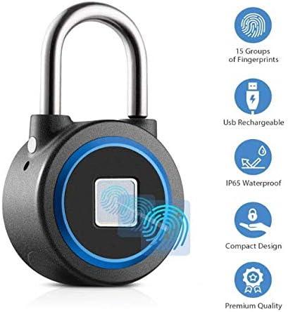 Landye Fingerprint Padlock Black Biometric Fingerprint Door Lock Anti-Theft Portable USB Rechargeable Electronic Keyless Gym Locker Waterproof 180 amh Smart Thumbprint Padlock