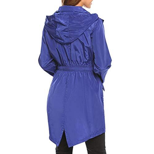 Della Da Con Viaggio Cerniera Tasche Maniche Casual Tuta Blu Sottile Donna Cappuccio Lunghe Giacca Sportiva Cappotto Impermeabile Mxssi qAxz6x