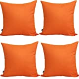 "4-Pack 100% Cotton Comfortable Solid Decorative Throw Pillow Case Square Cushion Cover Pillowcase 17.7"" x 17.7"" (Orange)"