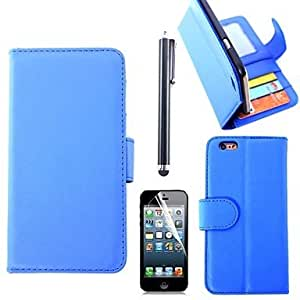 MOM Plain PU Leather Cover with Card Slot with Touch Pen and Protective Film for iPhone 6 Plus (Assorted Colors) , Black