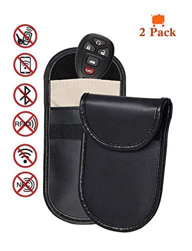 Tuisy Car Key Fob Protector - 2X Faraday Bag Signal Blocker Case Cell Phone Anti Radiation Pouch Blocking RFID/WiFi/GSM/LTE/NFC Antitheft Car Keys Guard Credit Card EMF Protection