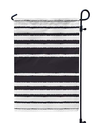 - Soopat Stripes Seasonal Flag, Black and White and White Pattern Black Stripes White Weatherproof Double Stitched Outdoor Decorative Flags for Garden Yard 12''L x 18''W Welcome Garden Flag
