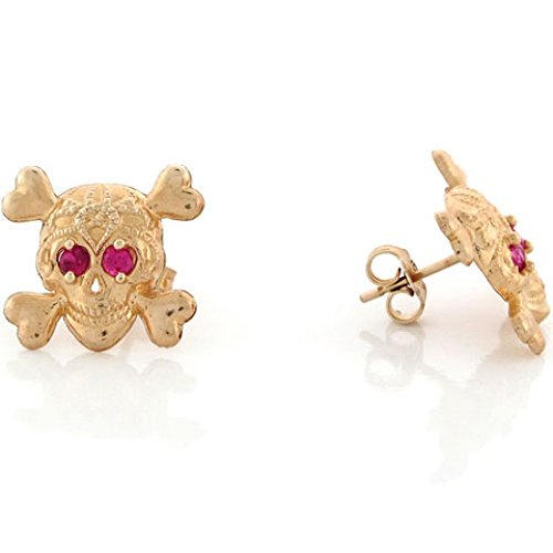- 10k Yellow Gold Skull and Crossbones Earrings with Simulated Ruby Eyes