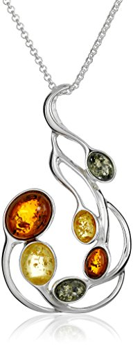 Sterling Silver Multicolored Amber Large Pendant Necklace, 18""