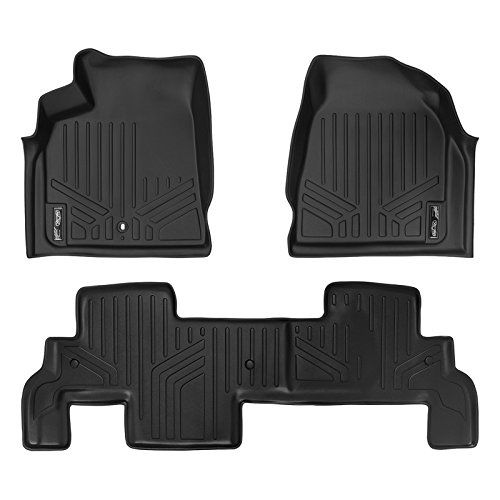 Denali 2nd Row Bench Seats - SMARTLINER Floor Mats 2 Row Liner Set Black for Traverse/Enclave/Acadia/Outlook (with 2nd Row Bench Seat)