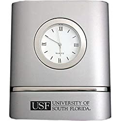 LXG, Inc. University of South Florida- Two-Toned Desk Clock -Silver