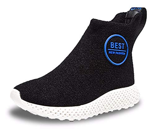 Pure Sports Round Boots Ankle Blue Women's Fall Shoes Wool Toe Black Fashion CAMSSOO Slip On Color X0waHUqPR