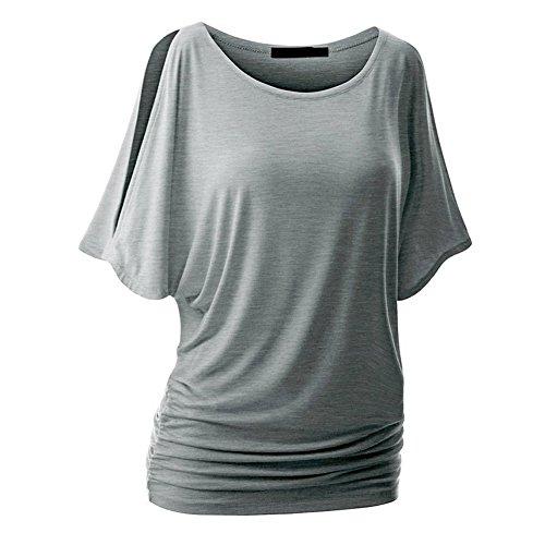 Laixing Buena Calidad 10 Color Fashion Women Off Shoulder Casual Cotton T-Shirt Tops Blouse BJ9048 Gray
