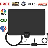 TV Antenna, Indoor Amplified Digital HDTV Antenna, 50 Mile Range with Detachable Amplifier Signal Booster for 1080P High Reception, USB Power Supply and 13.2ft Coaxial Cable, Black
