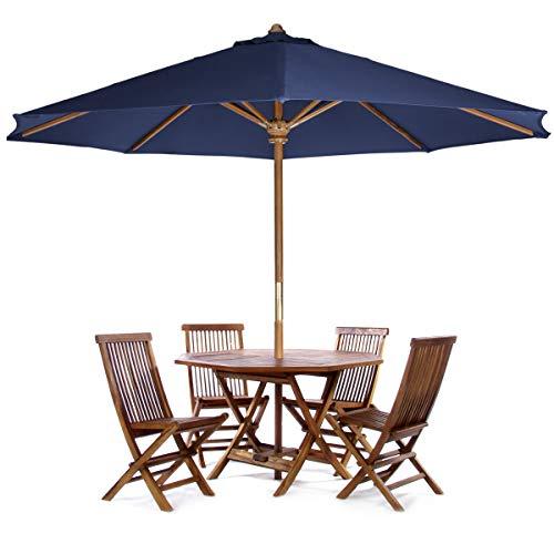 All Things Cedar TT6P-O-B 6-Piece Teak Octagon Patio Table Folding Chair Set with Umbrella, Blue