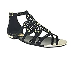 Paprika Women's Beam Open Toe Metal Tips Studded Strappy Cut Out Flower Flat Sandal, black faux suede, 7 M US
