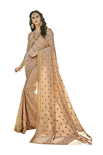 Dessa Collections Indian Sarees for Women Wedding Designer Party Wear Traditional Beige Sari. by Dessa Collections