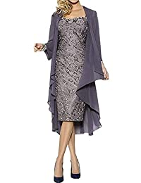 UZN Women's Lace Tea Length Mother of Bride Dress with Chiffon Jacket Mermaid Foraml Dresses
