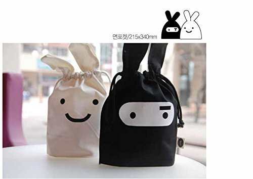 Korean Adorable Travel Ninja Rabbit Pouch Tote Bag Drawstring Bag (White)