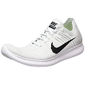 NIKE Free RN Flyknit Mens Running Shoe 831069 101 White/Pure Platinum/Black (10.5 D(M) US)