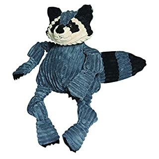 HuggleHounds Plush Corduroy Durable Squeaky Knottie, Dog Toy, Great Dog Toys  for Aggressive Chewers, Raccoon, Large