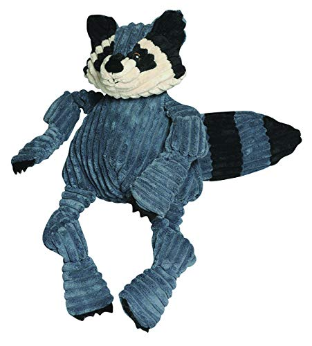 HuggleHounds Plush Corduroy Durable Squeaky Knottie, Dog Toy, Great Dog Toys  for Aggressive Chewers, Raccoon, Large (Plush Dog Toys Raccoon)