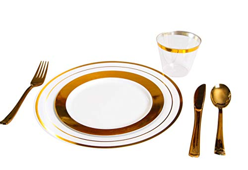 Plastic Dinnerware 150 Piece Set - 25 Dinner Plates, 25 Salad Plates, 25 Tumblers, 25 Spoons, 25 knives, 25 Forks - Premium Utensils Supplies For Wedding, Family Reunion, Thanksgiving - Gold]()