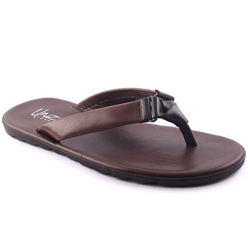 Unze London Men's Leather 'Reynol' Braided Flip Flop Slip...
