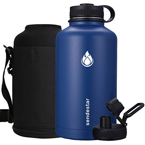 Sendestar 64 oz Beer Growler Double Wall Vacuum Insulated Leak Proof Stainless Steel Water Bottle —Wide Mouth with Flat Cap & Spout Lid Includes Water Bottle Pouch (Cobalt)
