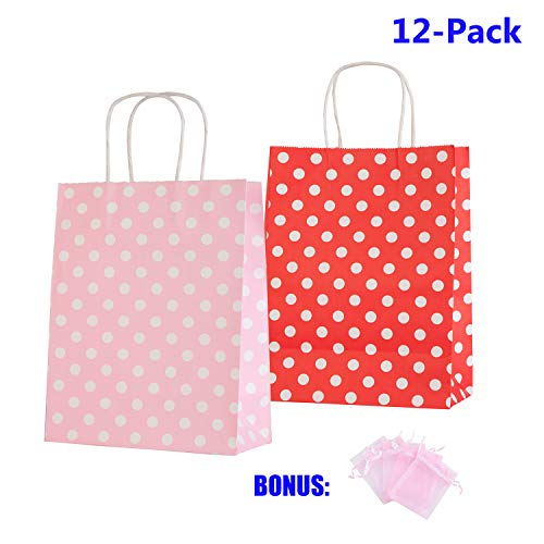 Anleolife 12 Small Kraft Paper Kids Gift Bags, Assorted Goody Tote Loot Set for Party Favor Supplies on Boys/Girls Birthday, Baby Showers, Retails Shopping Restaurant Takeout (Polka Dot, Pink_n_Red)