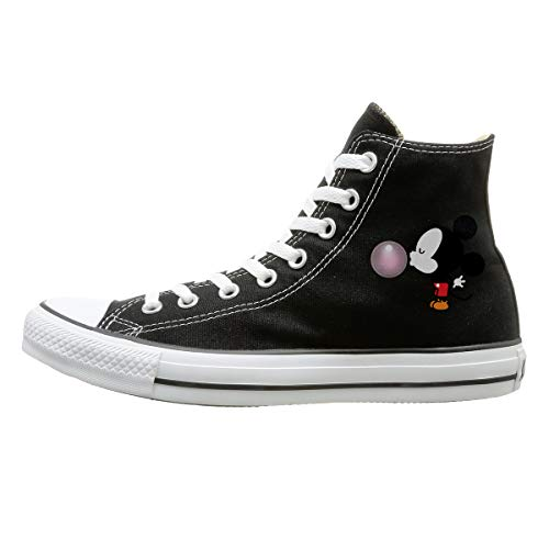 (FOOOKL Balloon Mickey Mouse Canvas Shoes High Top Casual Black Sneakers Unisex Style)
