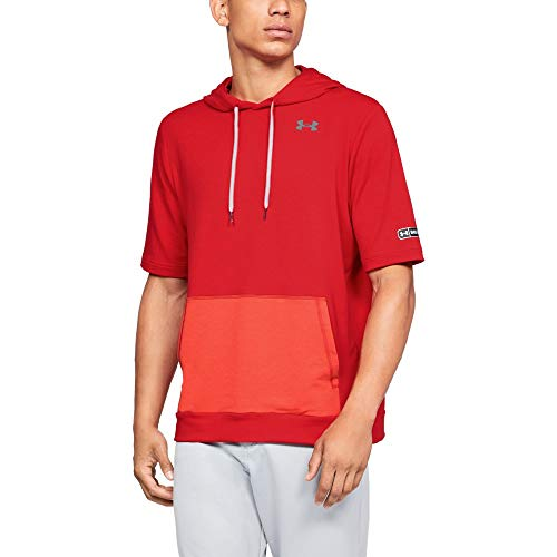 (Under Armour Men's M IL Utility Short sleeve Cage Hoodie, Red (600)/Steel, Medium)