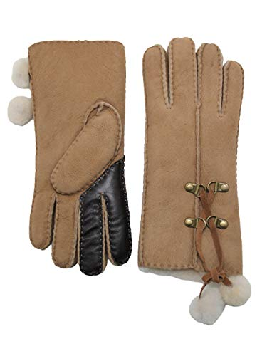 - YISEVEN Women's Merino Sheepskin Shearling Leather Gloves Furry Balls Mittens Sherpa Fur Cuff Thick Wool Lined and Heated Warm for Winter Cold Weather Dress Driving Work Xmas Gift, Camel Touchscreen S