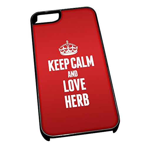 Nero cover per iPhone 5/5S 1168 Red Keep Calm and Love Herb