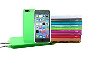 COMBO 3 Soft Silicone Gel Transparent Rubber Phone Case Covers with Protected Ports For iPhone 5 5s NEON GREEN NEON PURPLE NEON RED