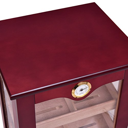 Giantex Countertop Cigar Humidor Cabinet Tempered Glass Lockable w/Humidifiers Hygrometer 150 Cigars by Giantex (Image #7)