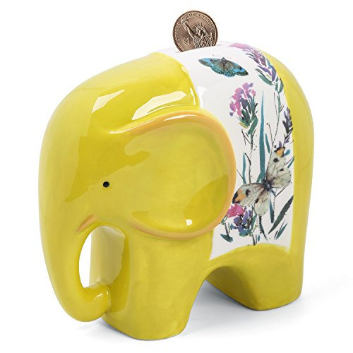 FORLONG Elephant Ceramic Piggy Bank Coin Bank Money Box - Case Coin Yellow