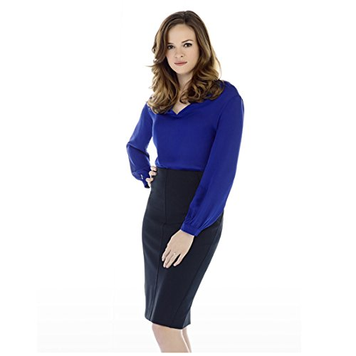 The Flash (TV Series 2014 - ) 8 Inch x 10 Inch photo Danielle Panabaker Right Hand on Hip Blue Blouse & Skirt kn