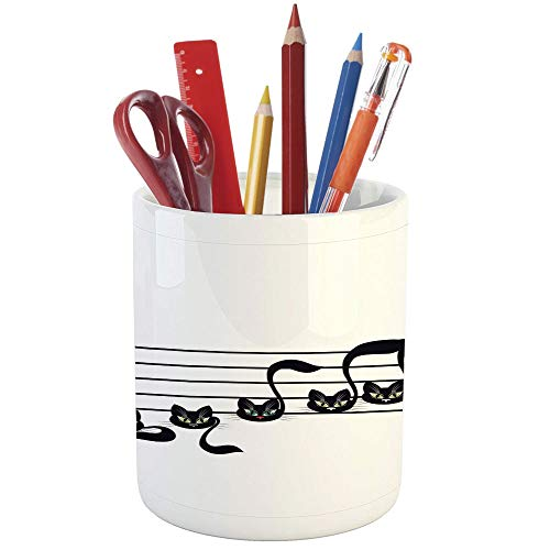 Pencil Pen Holder,Music Decor,Printed Ceramic Pencil Pen Holder for Desk Office Accessory,Notes Kittens Kitty Cat Artwork Notation Tune Children Halloween Stylized