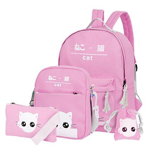 Vbiger Canvas Kids Backpack Set 4pcs Casual Kitty School Bag for Teenage Girls (Pink)